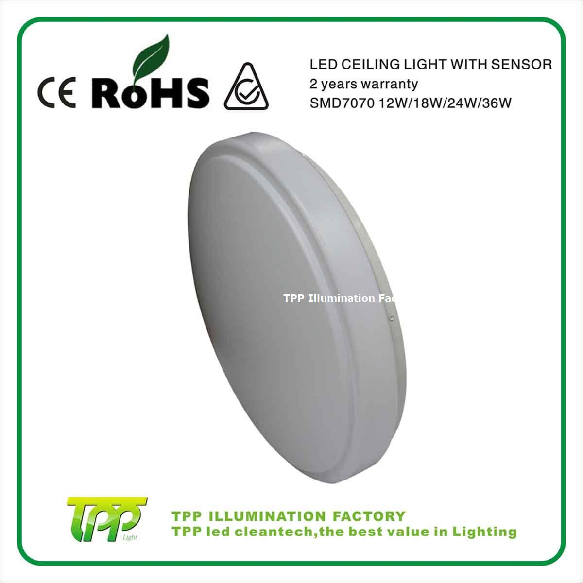 Round shape 12W high power led ceiling lamp with sensor