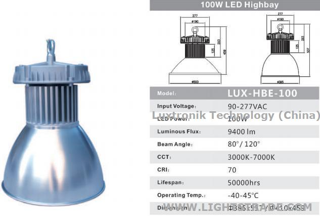 100W LED High Bay,1-10V / PWM / DALI Dimmable Daylight / Motion Sensor IP67