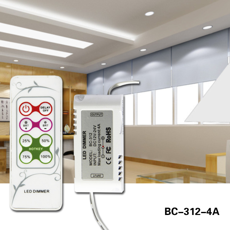 DC 12-24v RF remote control led mini dimmer for led strip