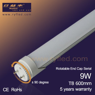 Rotatable end cap 2ft 9W 900Lm T8 Tube light
