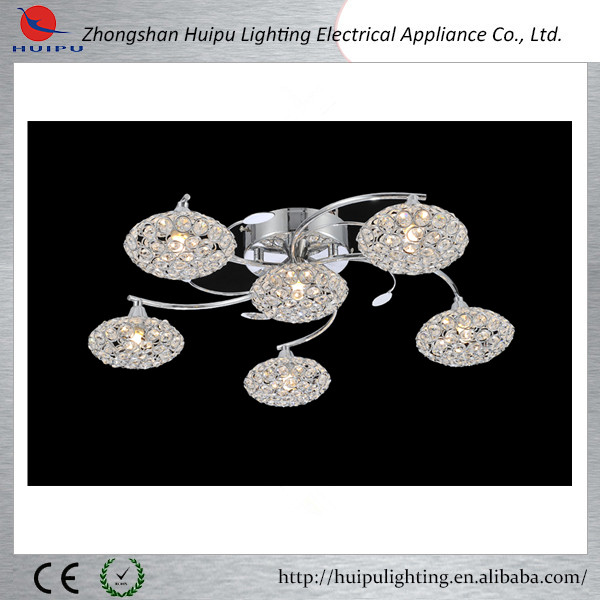 Modern new elegant design 5 + 1 lights crystal ceiling lamp