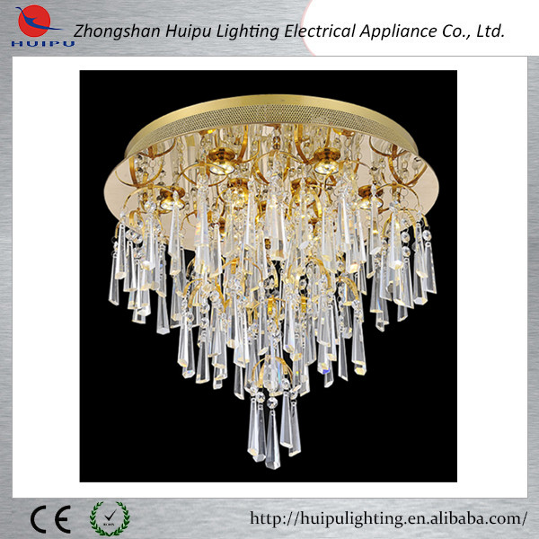 Contemporary round shape crystal gold ceiling lamp