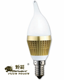 LED Candle Light (Golden Body,Milk Cover) 3W/1W