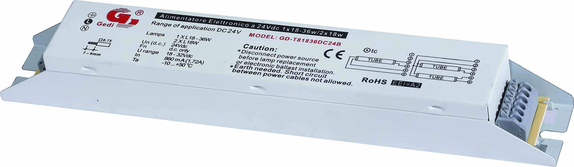 12/24V DC/AC Electronic Ballast For T8 Lamps