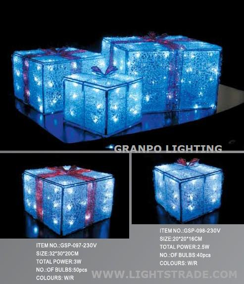LED Christmas light IP44 outdoor indoor decoration 3D acrylic light  Christmas gift box-GRANPO LIGHTING &ELECTRICAL APPLIANCE CO.,LTD_阿拉丁商城 - LED Christmas Light IP44 Outdoor Indoor Decoration 3D Acrylic Light