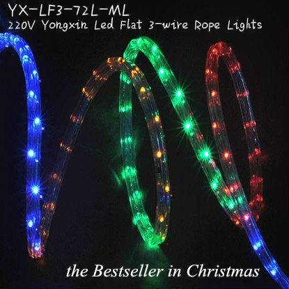220v multi color led flat 3 wire rope light holiday celebration led 220v multi color led flat 3 wire rope light holiday celebration led lights wholesale ruian yongxin light decoration co ltd aloadofball Images