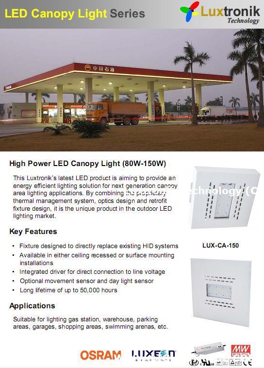 80W-150W LED Canopy Light Gas station, Petrol lighting IP65