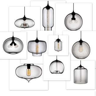 Modern Vintage Glass a Series of Shapes Pendant Light in Cabinet