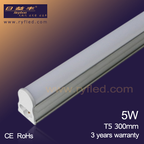 5W 300mm T5 integrated led tube light with 3 years warranty