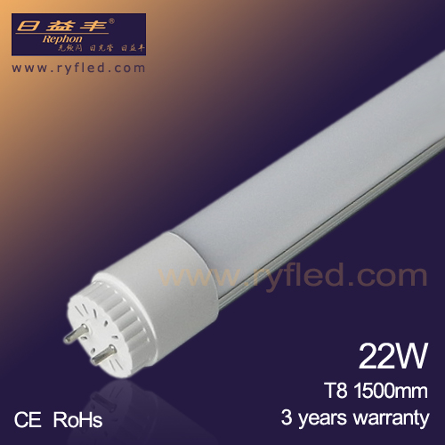 2014 hot sale SMD2835 5ft 1500mm 22w T8 led tube light with 3 years warranty