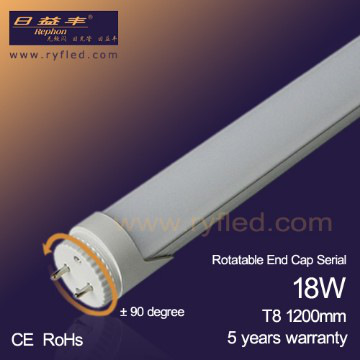 Rotatable end cap T8 LED Tube Light 4ft 18W 1980lm with 5 years warranty