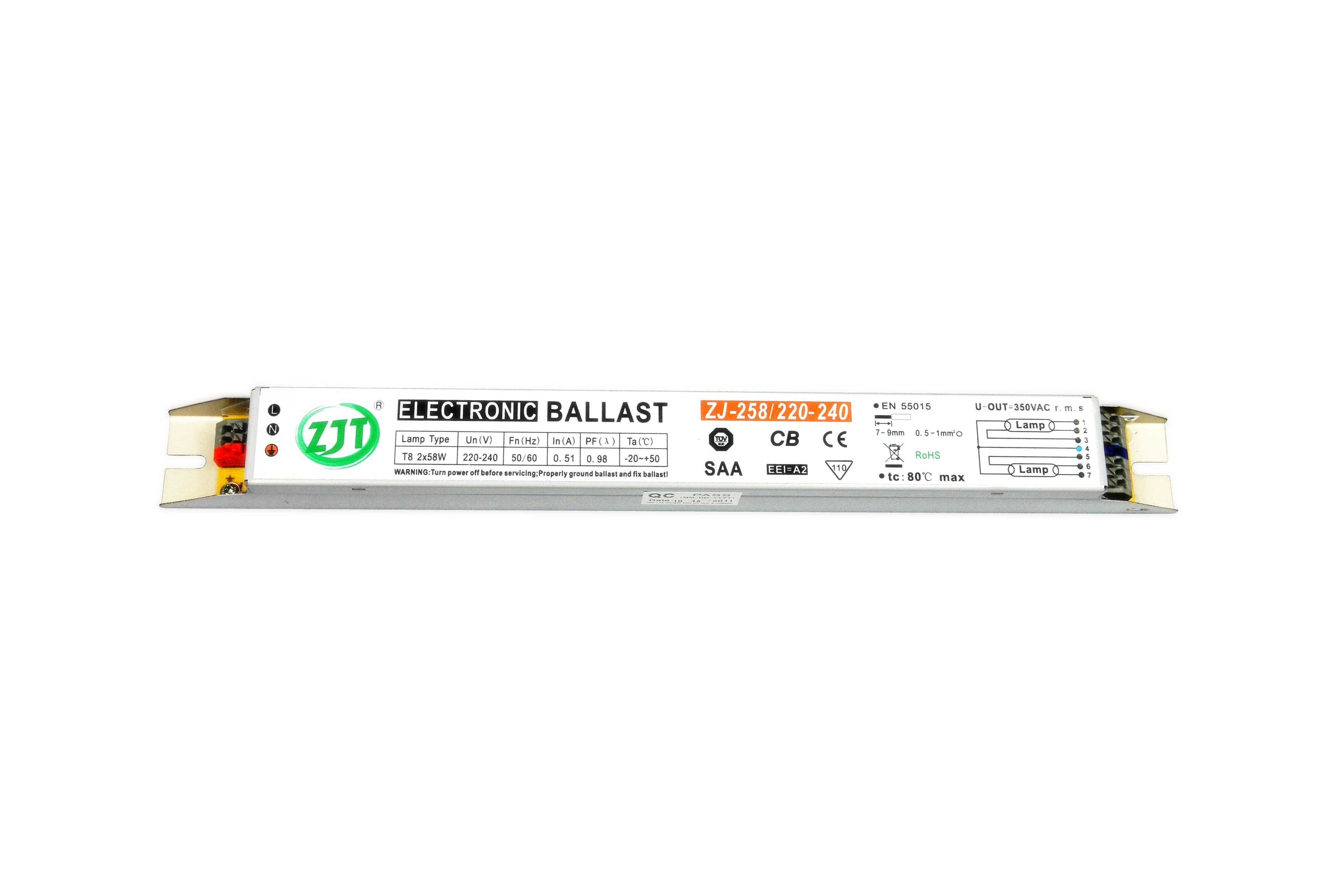 T8 2x58w Electronic Ballast With Tuv Ce Cb Saa Rohs Emc Certificate