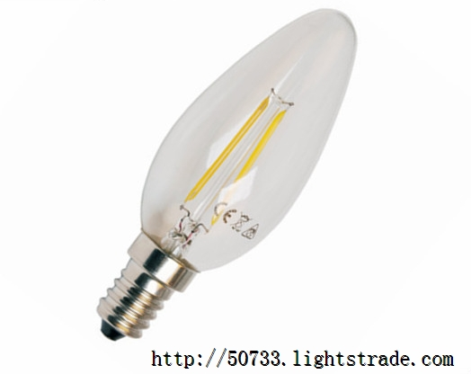 360 degree 2w filament led candle bulb with CE,RoHS