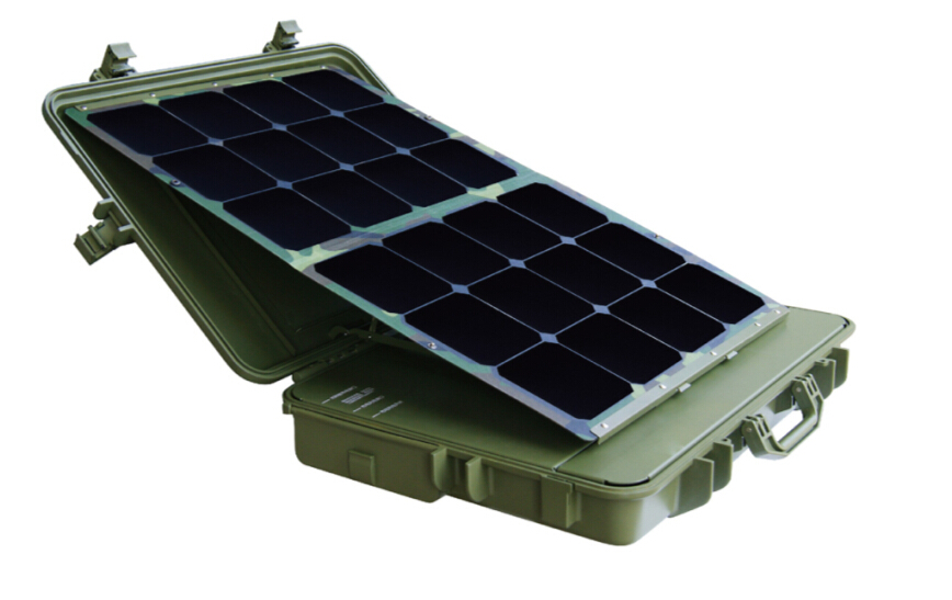 300W portable solar power system with flexible solar panel for military design