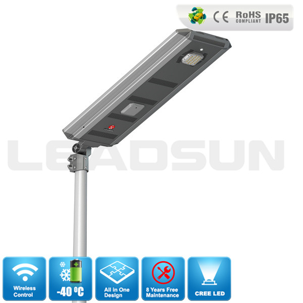 30W Wireless All In One Solar Street Light Led Parking Lot Lighting with CE Approved