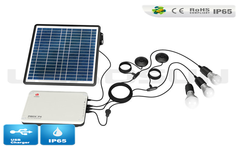 4w 5w 6w 7w LED bulbs Solar Home Lighting system solar lighting kit with USB Solar Charger.