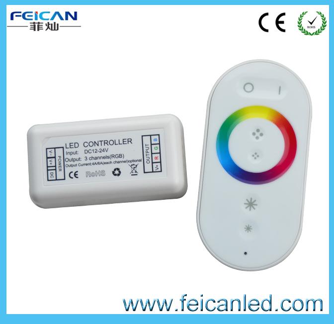 LED RGB Strip DC 12~24V 3*6A RF Full Touch Controller/RF Wireless Plastic shell RGB 6keys full Touch