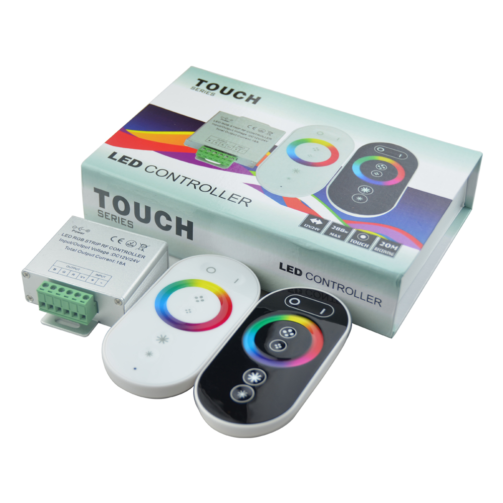 hot sale CE ROHS RF Remote Aluminum Shell Full Touch RGB LED Controller/ Rainbow Touch RGB Controlle