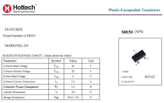 J3y Npn Smd Transistor S8050 Shenzhen Hottech Electronics