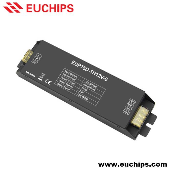 200-240VAC 75W 12VDC constant voltage dimmable led driver EUP75D-1H12V-0