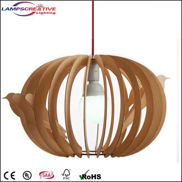 Handmade wooden pendant lamp