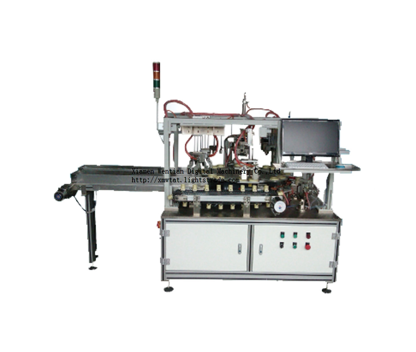 Dome gluing and capping machine