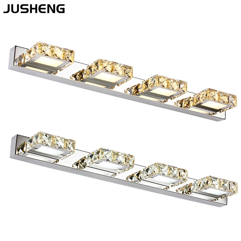 JUSHEN 12W four square crystals bathroom mirror wall lamp 5980 110-240V AC CE FCC ROHS