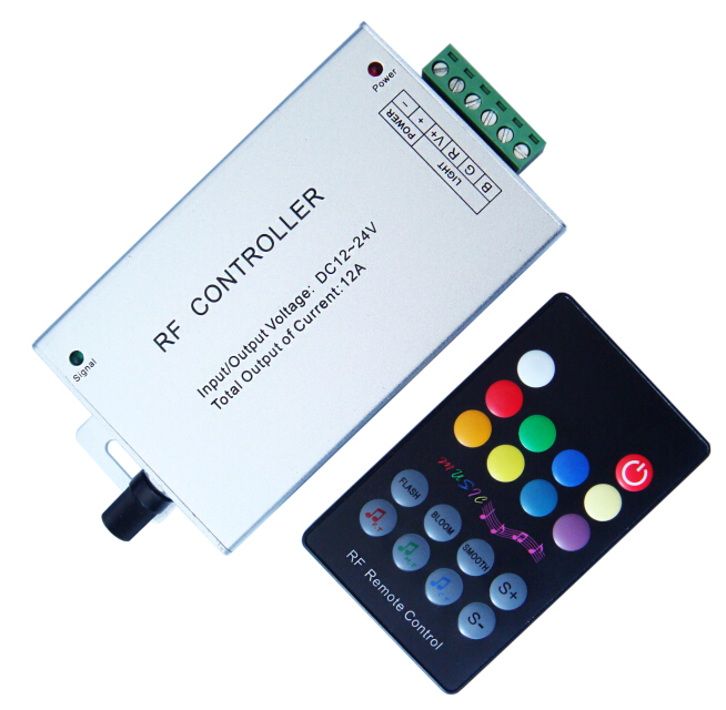 Super eco RGB led music controller rf led sound controller led audio controller 12A ce rohs warraNTY