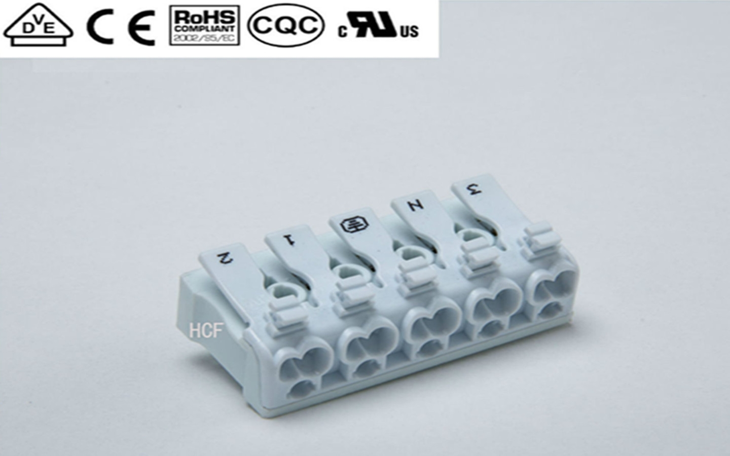 Luminaire Push wire connector 5P With 1-Side Press-Button