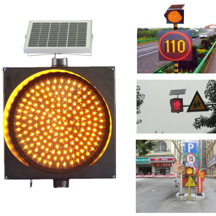 Solar led flashing traffic warning light