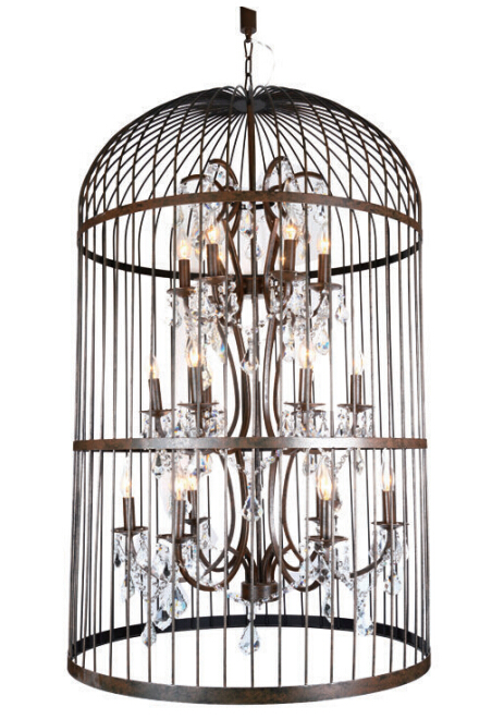 Metal bird cage chandelier lamp