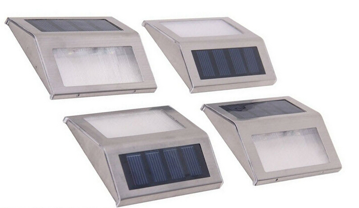 Outdoor Low Voltage 3 LED Solar Powered Wall Mounted Stainless Steel Step Light