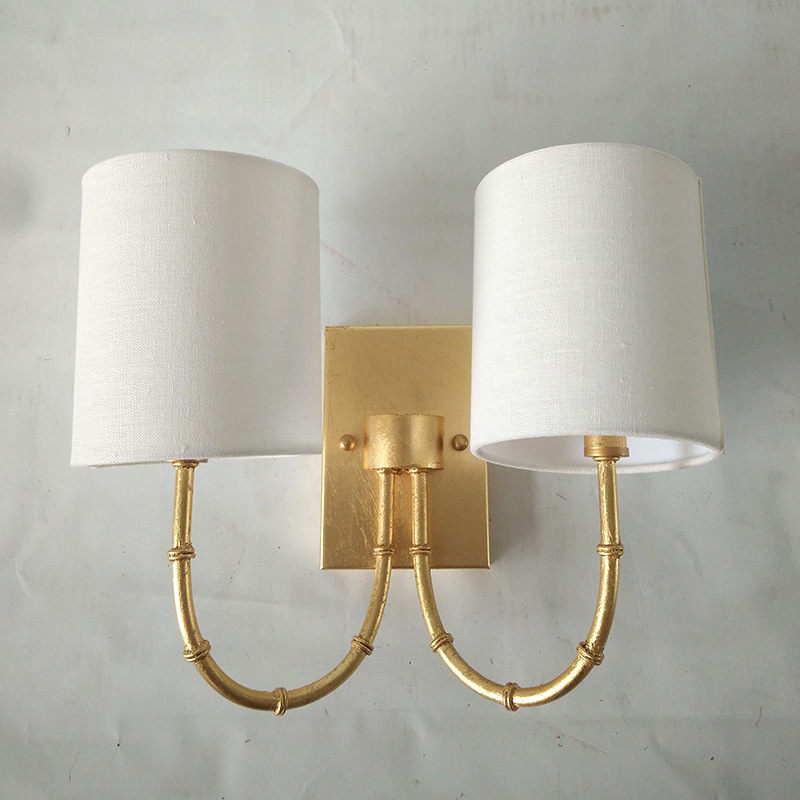 Wall lamp with high quality household Bedroom pure white linen classical foil lamp Hotel wall lamp