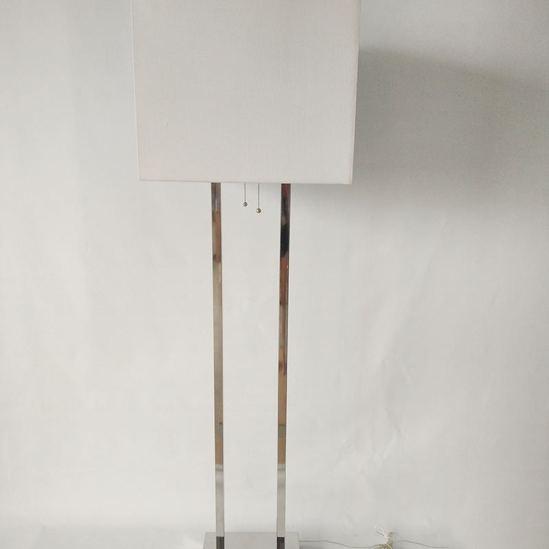 Supply pure white linen floor lamp shade The gold foil stainless steel primary living room hotel ded