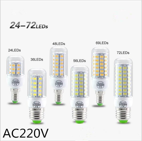 LED Lamp 5730SMD LED Lights Corn Led Bulb 24 36 48 56 69 72Leds Chandelier Candle Lighting Home