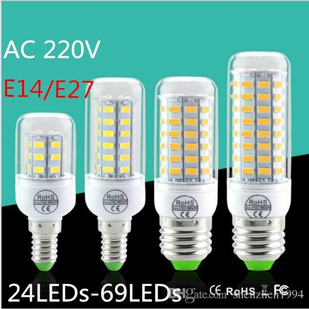 LED lamp E14 AC220V SMD 5730 Corn Bulb 24 36 48 56 69leds Chandelier LEDs Candle light Spotlight