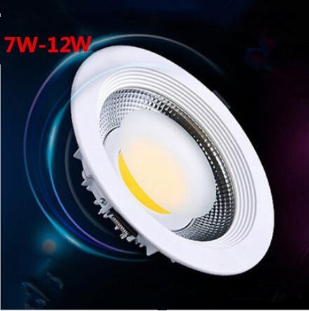Hot sale White Shell 7W12W Dimmable Cob Led Downlight CoolWarm White cob Led Ceiling Down Light