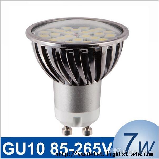 New dimmable GU10 7W LED Spotlight SMD5050 85-265V High Intensity Alamium LED Lamp Bulb Spot Light