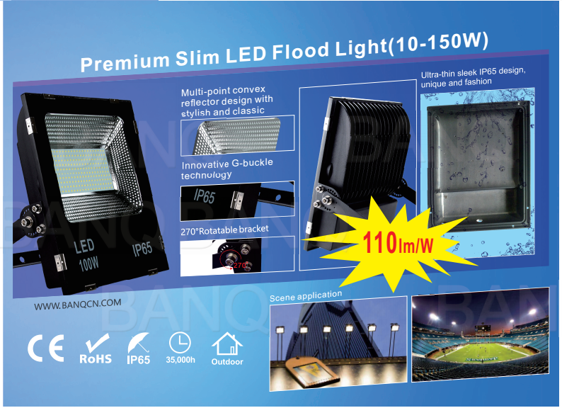 2018Premium 110LM Per Watt Outdoor Stylish Ultra Slim 10W-150W LED Flood Lights Meanwell Driver IP67