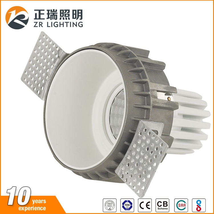 Die-casting Aluminum round and quare 7w 12w 30w trimless COB LED downlight
