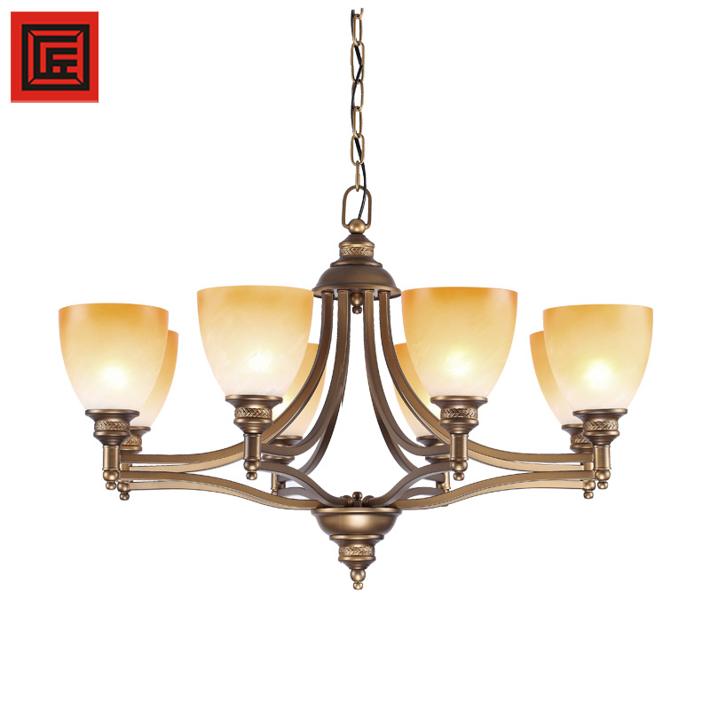 Moderm chandelier ceiling lamp with frosted glass bronze iron E27 light bulbs
