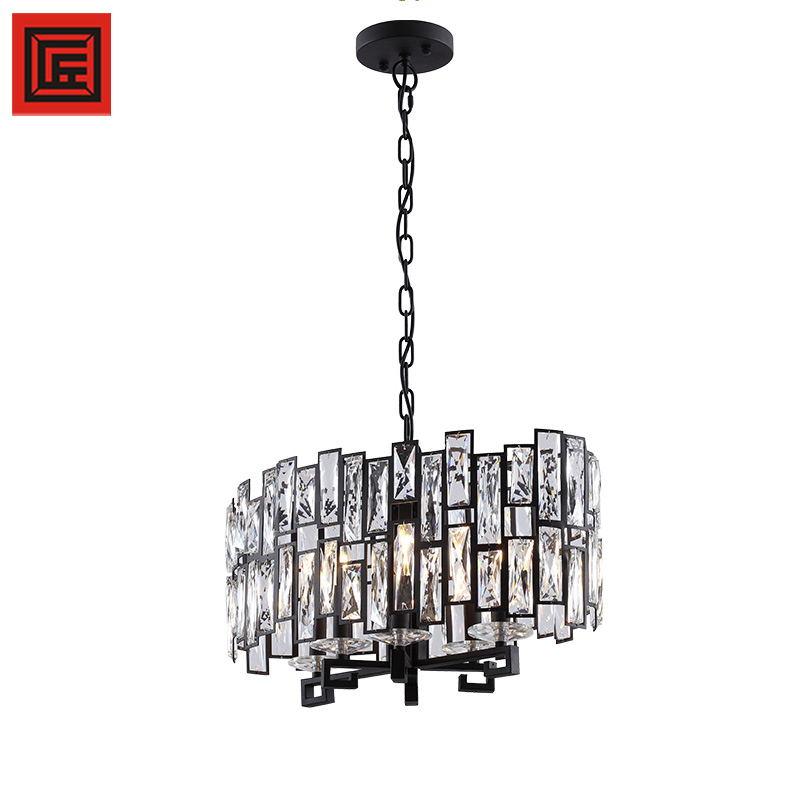 Modern American Warmth decorative black iron K9 crystal chandelier lighting pendant light for bedroo