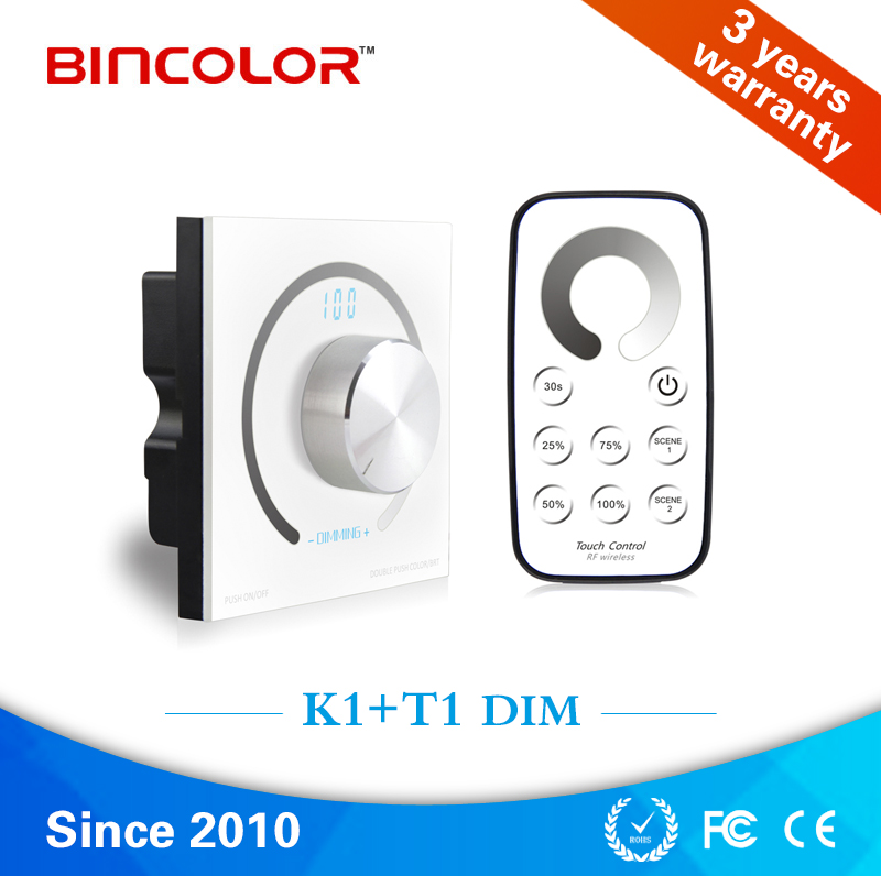Digital display PWM led strip dimmer controller rotary knob RF touch dimmer switch for led lights