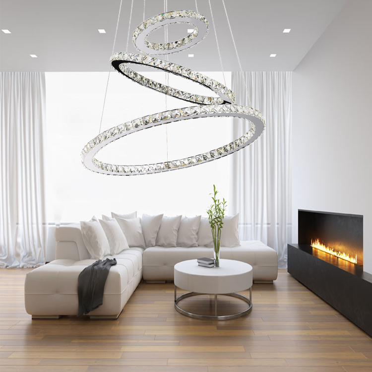 Modern Decoraive LED 72W Wire Hanging Lighting Lamps Pendant Chandeliers Lights Crystal for Hotel De
