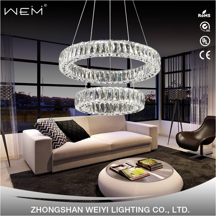 Popular 2 Round Rings LED 48W Chandelier Indoor Home Decor Modern Crystal Ceiling Light Hanging Lamp