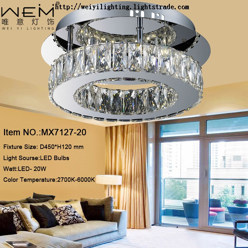 Modern ceiling lamps China supplier of led lighting with stainless steel and k9 crystal