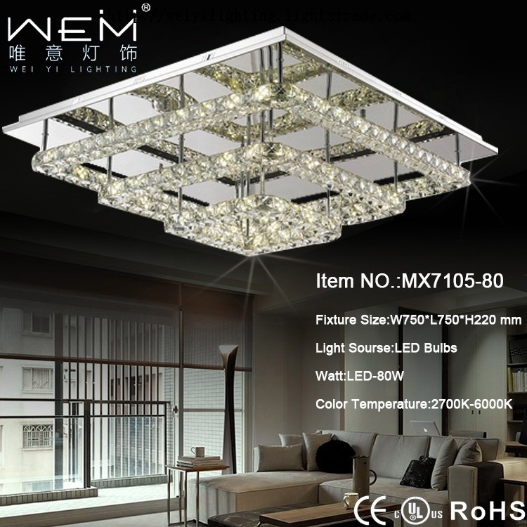 Trendy square crystal led Ceiling Lamp 80W nature white