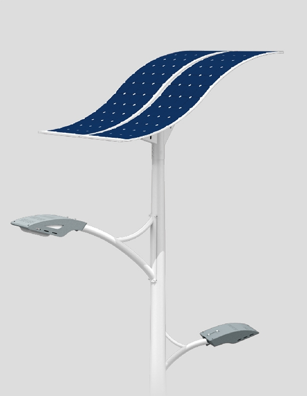 100W LED dual arms solar street light with flexible solar panels