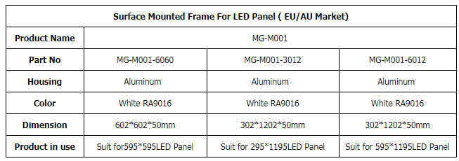 616x616x51mm 316x1216x51mm 616x1216x51mm LED panel light acessories Surface mounted frame Aluminum