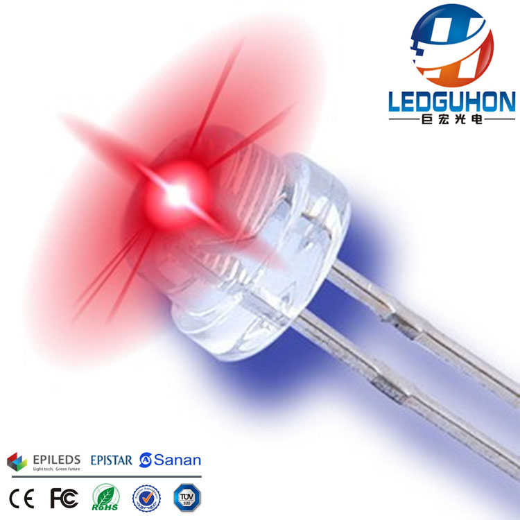 red 5mm straw hat diode for led decorative light